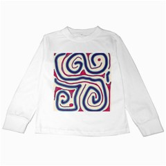 Blue and red lines Kids Long Sleeve T-Shirts
