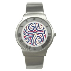 Blue and red lines Stainless Steel Watch