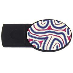 Blue and red lines USB Flash Drive Oval (4 GB)