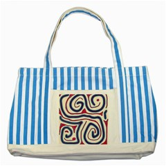 Blue and red lines Striped Blue Tote Bag