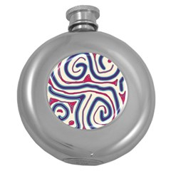 Blue and red lines Round Hip Flask (5 oz)