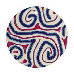 Blue and red lines Round Ornament (Two Sides)