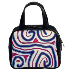 Blue and red lines Classic Handbags (2 Sides)