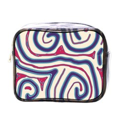 Blue and red lines Mini Toiletries Bags
