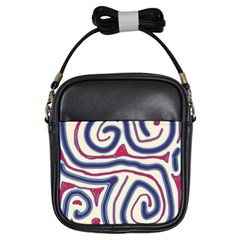 Blue and red lines Girls Sling Bags