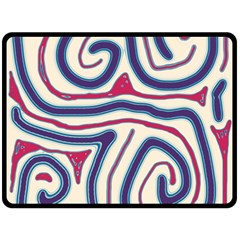 Blue and red lines Fleece Blanket (Large)