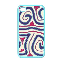 Blue and red lines Apple iPhone 4 Case (Color)