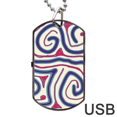Blue and red lines Dog Tag USB Flash (Two Sides)