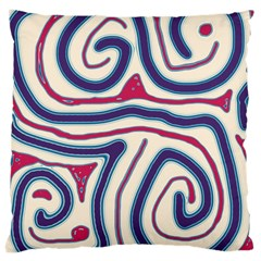 Blue and red lines Large Cushion Case (One Side)