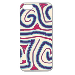 Blue and red lines Apple Seamless iPhone 5 Case (Clear)