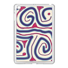 Blue and red lines Apple iPad Mini Case (White)