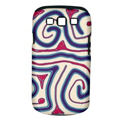 Blue and red lines Samsung Galaxy S III Classic Hardshell Case (PC+Silicone)
