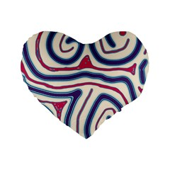 Blue and red lines Standard 16  Premium Heart Shape Cushions