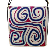 Blue and red lines Flap Messenger Bag (L)