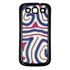 Blue and red lines Samsung Galaxy S3 Back Case (Black)