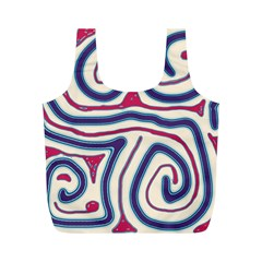 Blue and red lines Full Print Recycle Bags (M)
