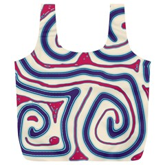 Blue and red lines Full Print Recycle Bags (L)