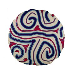 Blue And Red Lines Standard 15  Premium Flano Round Cushions