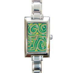 Green and orange lines Rectangle Italian Charm Watch