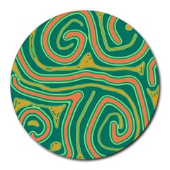 Green and orange lines Round Mousepads