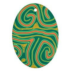 Green and orange lines Ornament (Oval)