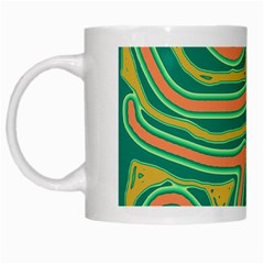 Green and orange lines White Mugs