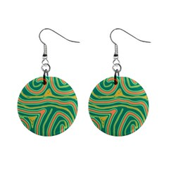 Green and orange lines Mini Button Earrings