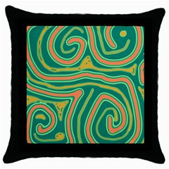 Green and orange lines Throw Pillow Case (Black)