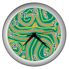 Green and orange lines Wall Clocks (Silver)
