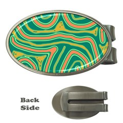 Green and orange lines Money Clips (Oval)