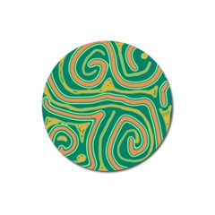 Green and orange lines Magnet 3  (Round)