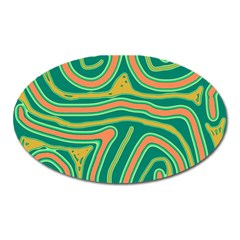 Green and orange lines Oval Magnet