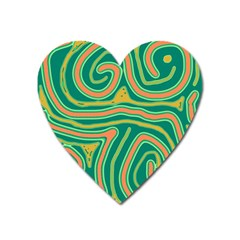 Green and orange lines Heart Magnet