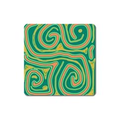 Green and orange lines Square Magnet