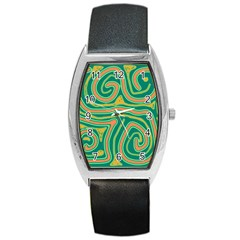 Green and orange lines Barrel Style Metal Watch