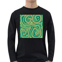 Green and orange lines Long Sleeve Dark T-Shirts