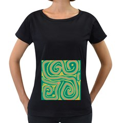 Green and orange lines Women s Loose-Fit T-Shirt (Black)