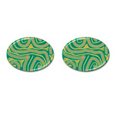 Green and orange lines Cufflinks (Oval)