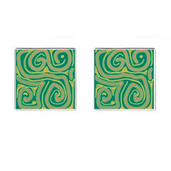 Green and orange lines Cufflinks (Square)