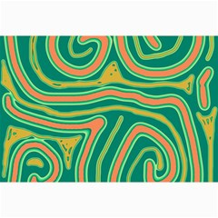 Green and orange lines Collage Prints