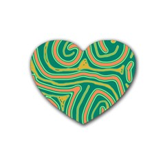 Green and orange lines Heart Coaster (4 pack)