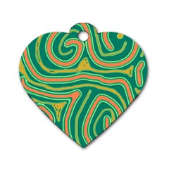 Green and orange lines Dog Tag Heart (One Side)
