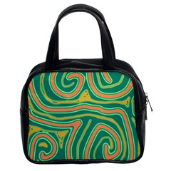 Green and orange lines Classic Handbags (2 Sides)