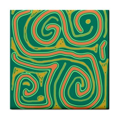 Green and orange lines Face Towel