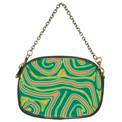 Green and orange lines Chain Purses (Two Sides)