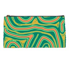 Green and orange lines Pencil Cases