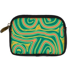 Green and orange lines Digital Camera Cases