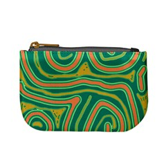 Green and orange lines Mini Coin Purses