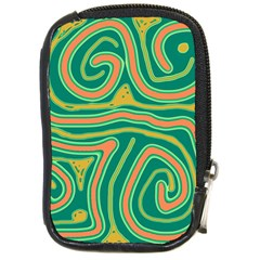 Green and orange lines Compact Camera Cases