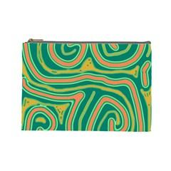 Green and orange lines Cosmetic Bag (Large)